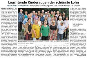 Zeitungsartikel Kirche geht in die Schule Aug 2019